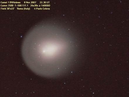 foto della cometa 17P/Holmes in fase di spegnimento