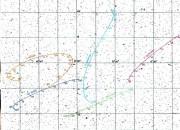 Il percorso di cinque asteroidi vicini in cielo