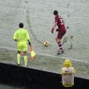 Giocatore reggino sotto la neve
