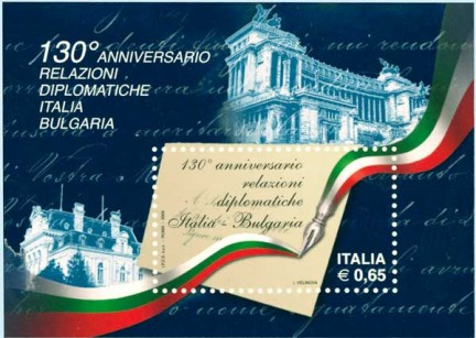 Il francobollo celebrativo per i 130 di relazioni diplomatiche