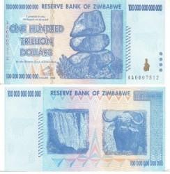 banconota da centomila triliardi di dollari dello zimbabwe