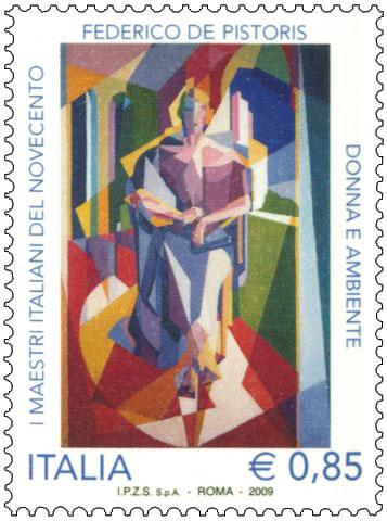Il francobollo che le poste italiane dedicano all'artista