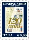 Il francobollo e l'annullo per l'unione sarda