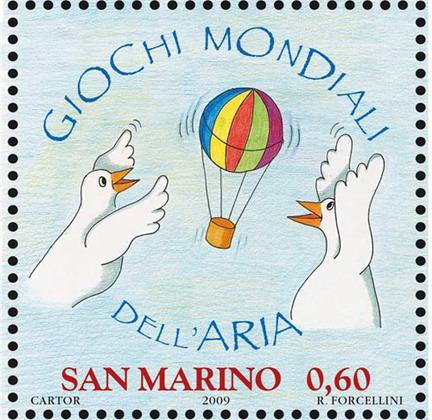 Francobolli di San Marino per i giochi mondiali dell'aria di Torino