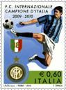 Il diciottesimo francobollo del campionato di serie A: scudetto all'Inter