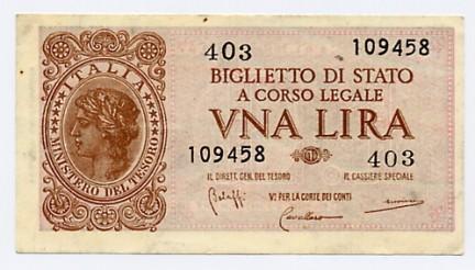 L'ultima emissione della lira di carta dello stato italiano
