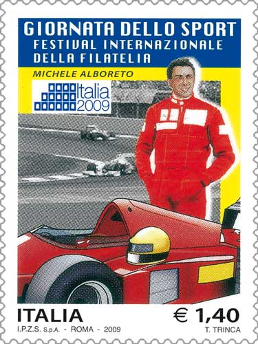 Il francobollo della giornata dello sport: Michele Alboreto