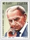 Le immagini del francobollo e dell'annullo per Norberto Bobbio