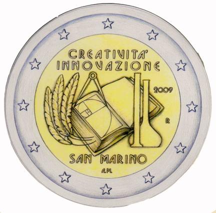 La moneta del 2009 da 2 euro della Repubblica di San Marino