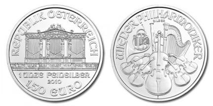 silver vienna filarmonica moneta