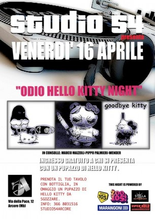 Odio Hello Kitty Night Studio 54 con radio 105