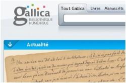 La home della biblioteca digitale Gallica della Bibliothéque nationale de France