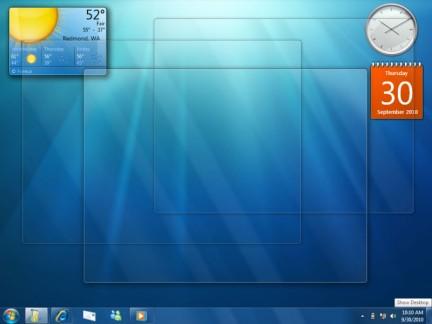 Trasparenza massima e gadget sul desktop