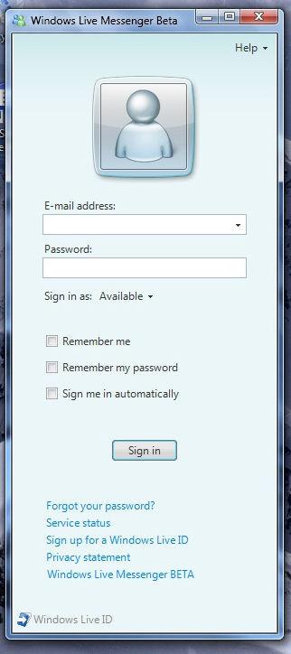 MSN Messenger in Windows 7