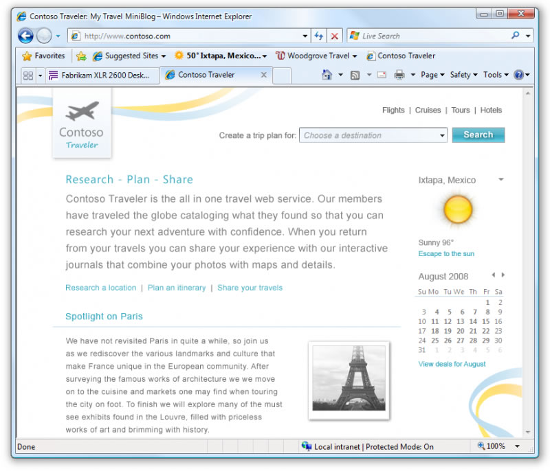 Finestra di Internet Explorer 8