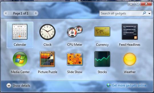 Gadgets  in Windows 7