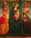 Francesco Melanzio, Madonna con Bambino in trono tra due Angeli accompagnata da S.Gioacchino e S.Anna