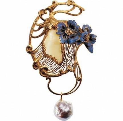 Lalique - Pendente Testa di ragazza incorniciata da papaveri_1898-1899