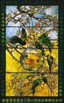 Louis Comfort Tiffany - Papppagalli e pesci dorati - 1893 - Realizzato per l'esposizione colombiana