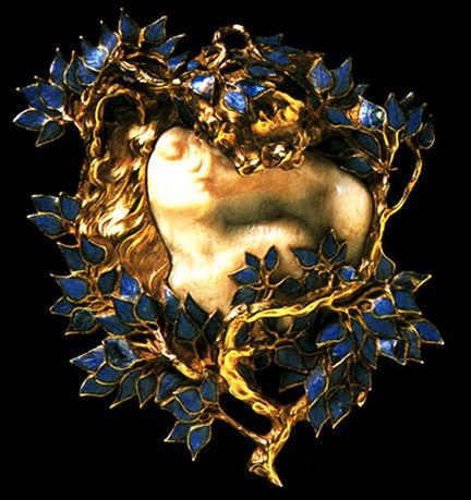 R Lalique - Amanti - Smalto oro e avorio - 1902-3