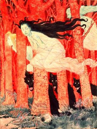 E_Grasset - Tre donne e tre lupi (1900)