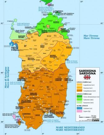 Mappa delle varianti linguistiche sarde - tratta da Wikipedia