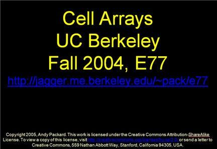I Cell Arrays in Matlab
