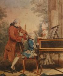 Il compositore bambino con il padre Leopold e la sorella Nannerl