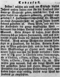 Il trafiletto apparso sul Wiener Zeitung