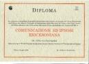 Diploma Corso Comunicazione ed Ipnosi Ericksoniana rilasasciato a Medici Medici Dentisti e  Psicologi