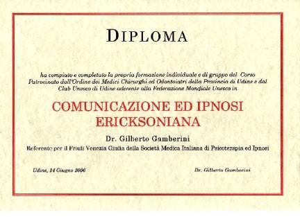 Corso Ipnosi e Comunicazione Il Diploma finale