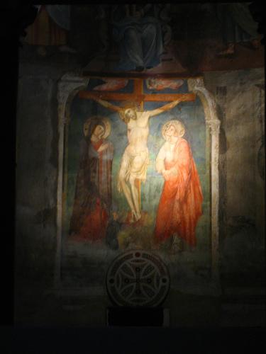 Affresco della Crocifissione sull'altare di S. Saba