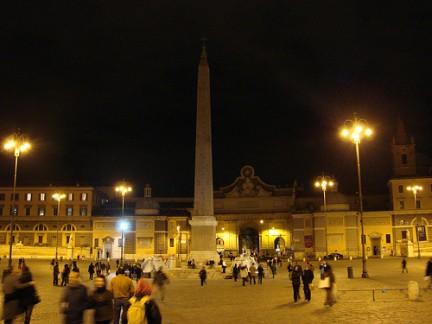Le luci della notte in Piazza del Popolo