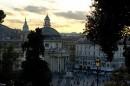 Piazza del Popolo quando inizia il tramonto