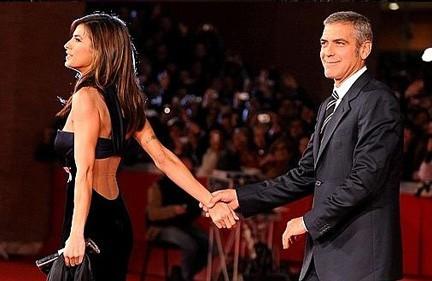 Elisabetta Canalis e George Clooney al Festival del Cinema di Roma