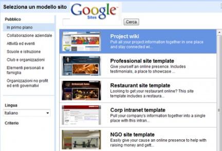modelli sito di Google Sites