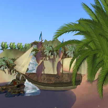 Spiaggia con vascello 3D tra le palme