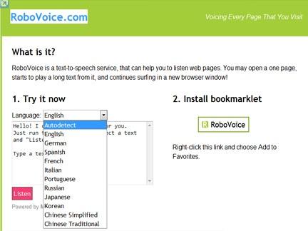 robovoice: Voce alle pagine web