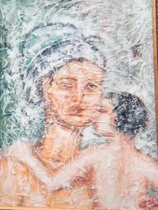 Immagini della maternitò .M.Mazzavillani acrilico tecnica mista