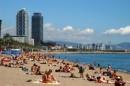 La spiaggia di Barceloneta e il porto olimpico, Barcellona