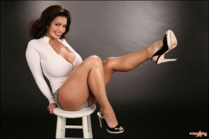 Denise Milani Sexy White Pinup Pics