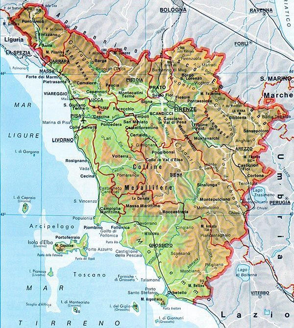 Costa Tirrenica Toscana Cartina.La Toscana