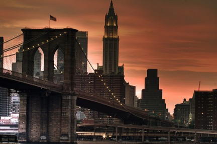 Tramonto sul Brooklyn Bridge