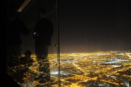 Panorama notturno di Chicago visto dallo SkyDeck