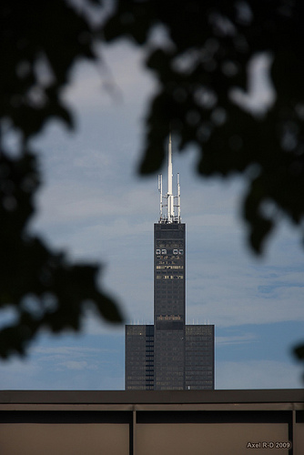 Willis Tower mentre scende la sera