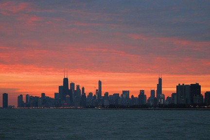 Grattacieli nella notte di Chicago