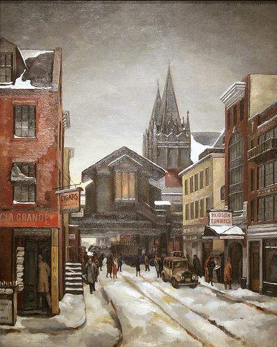 Christopher Street - Greenwich Village nel 1934, dipinto di Beulah R. Bettersworth