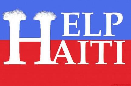 Una scritta che invoca aiuto per Haiti