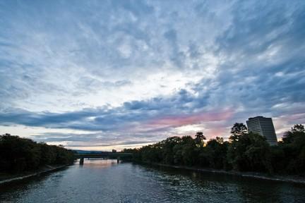 Prime luci del tramonto sul fiume Susquehanna