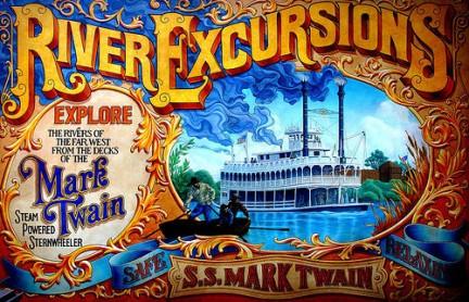 Disneyland manifesto che invita a prendere la barca intitolata a Mark Twain